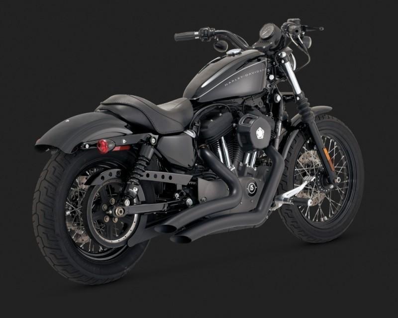 DK Custom V&H Big Radius 2-2 Full Exhaust for Harley Sportster - Chrome black Vance & Hines