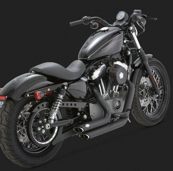 DK Custom V&H Short Shots Staggered full exhaust for Harley Sportster - Chrome Black Shortshots exhaust Vance & Hines
