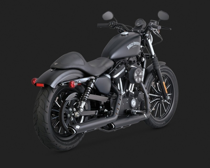 DK Custom V&H Twin Slash Slip-ons for Harley Sportster - Matte Black Harley-Davidson Vance & Hines