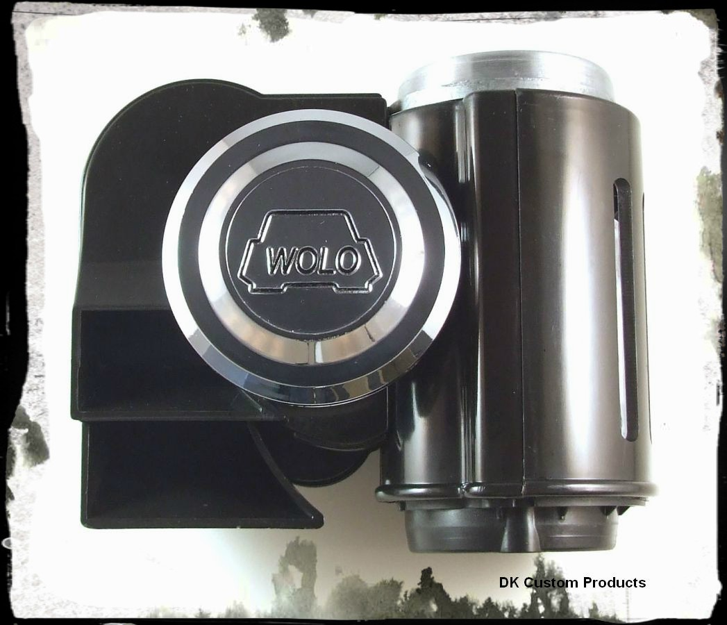 Black Bad Boy Wolo Air Horn - Dual Tone - LOUD DK Custom Harley Davidson Sportster Dyna Softail Touring Trike Freewheeler 12 volt