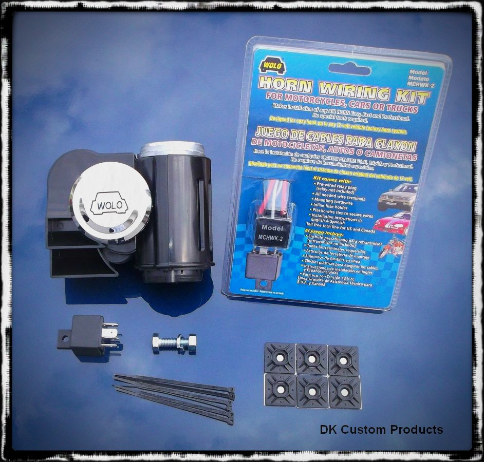 Black Bad Boy Wolo Air Horn - Dual Tone - LOUD w/ Wiring kit DK Custom Harley Davidson Sportster Dyna Softail Touring Trike Freewheeler 12 volt