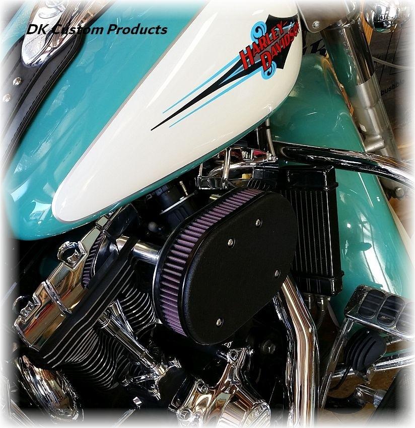 DK Custom Stage I 1 one HiFlow High Flow Performance Air Cleaner 828 Outlaw Twin Cam K&N External Breather EBS Wrinkle Black