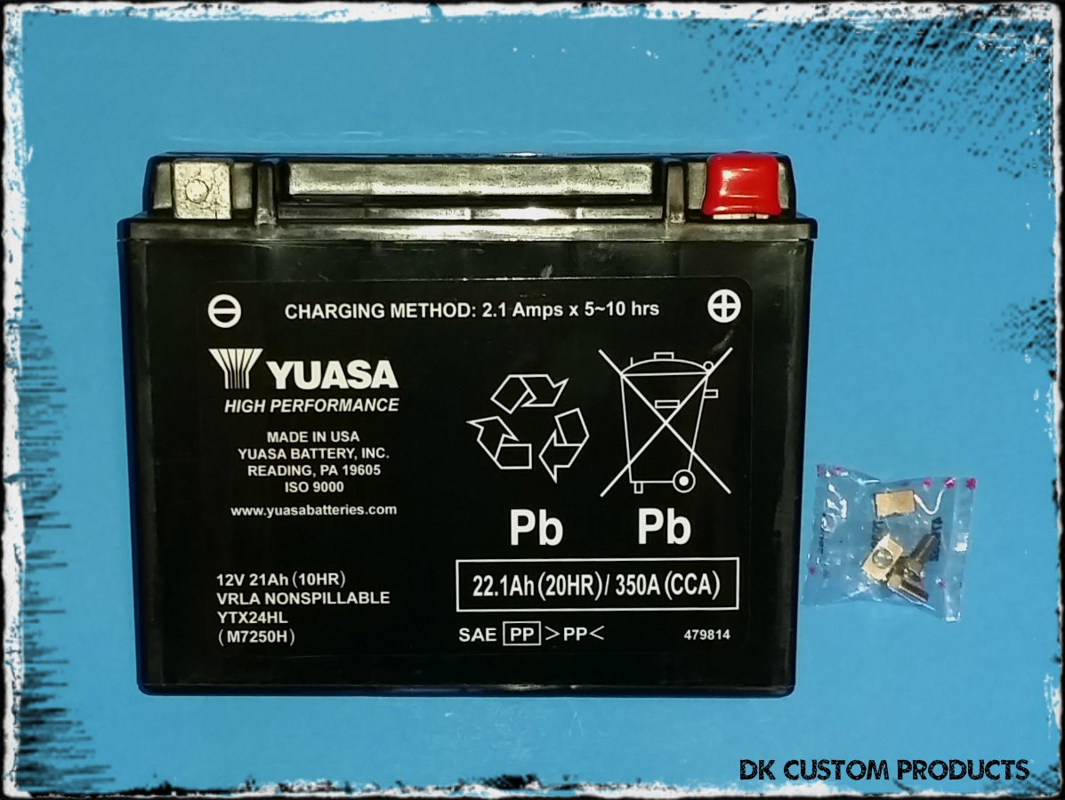 DK Custom Products YUASA HIGH PERFORMANCE BATTERY Direct OEM Replacement No Maintenance ~ Sealed ~ Long Life MADE IN THE USA Harley Davidson Sportster Softail Dyna