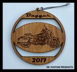 DK Custom Christmas Tree Holiday Harley Bagger Laser Engraved Ornament