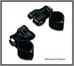 DK Custom Blacked-Out Highway Peg Mounting Kit - Hinged Clamp & Clevis Harley Davidson Kury Engine Guard Frame Foot Peg