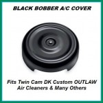 Black Bobber Cover Face Plate Harley Davidson 606 587 425 aluminum polished chrome Big Sucker Pro-Billet Made in USA contrast cut sano black High Performance air cleaner system Sportster Big Twin Evo DK Custom Outlaw Air Cleaner Interchangeable Face Plate