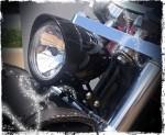 Visor Style Black Halogen Headlight - Sportster - Dyna - Softail