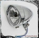 Visor Style Chrome Halogen Headlight  Sportster - Dyna - Softail