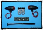 Carbon Fiber Look CFL Streamliner Bullet  Marker Lights Relocation Kit DK Custom Products Harley-Davidson  Universal fit for 12 volt motorcycles SEE & BE SEEN