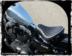 "DK Custom Premium Leather Diamond Tuck 16"" Bobber Solo Seat System w/ BARREL Springs  2004-Up Sportsters Made in the USA Harley"