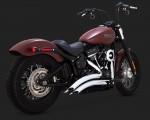 DK Custom V&H Big Radius 2-2 Full Exhaust for Harley M8 Softail - Chrome Vance & Hines Thunder Torque Slash Cut Heat Shields