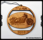 DK Custom Christmas Tree Holiday Harley Dyna Laser Engraved Ornament