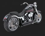 DK Custom V&H Short Shots Staggered Exhaust for Harley Softail - Black Softails Vance & Hines Thunder Torque