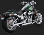 DK Custom V&H Straightshots Slip-ons for Harley Softail - Chrome Harley-Davidson Vance & Hines
