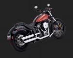 DK Custom V&H Twin Slash Slip-ons for Harley Dyna Softail - Chrome Harley-Davidson Vance & Hines