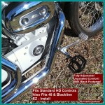 DK Custom BMX Style FOOTPEGS Harley-Davidson Motorcycles Sportsters-Dynas-Softails-V-Rod's Improve Lean Angle Adjustable