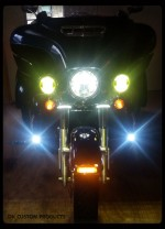DK Custom Harley Touring Heritage LED Stealth Driving LIghts Saddlebag Run Brake Turn Signals running Lights