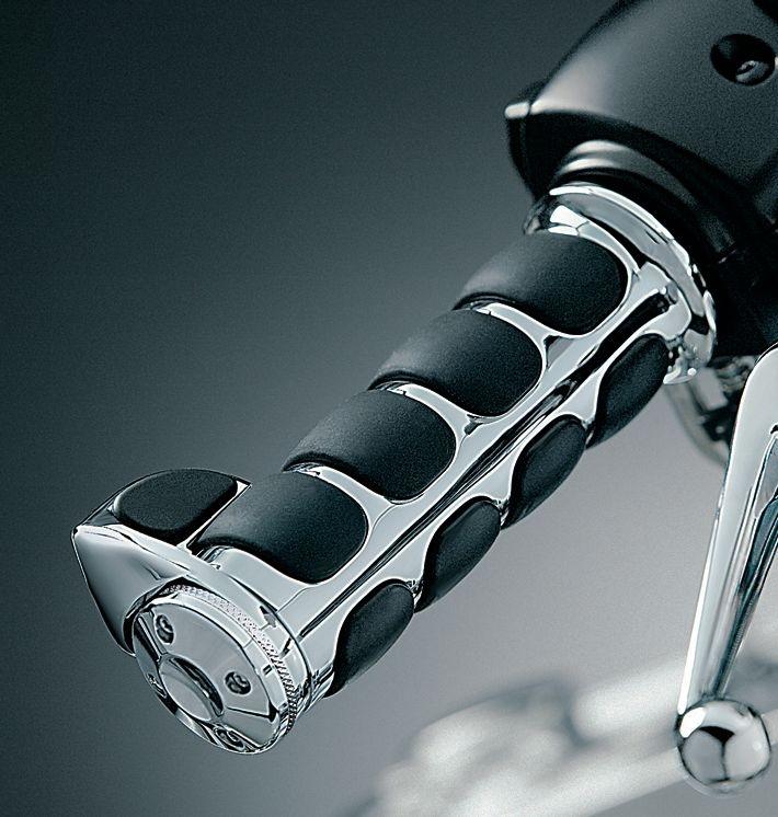 Premium Chrome ISO Handlebar Grips w/ Throttle Boss For Harley
