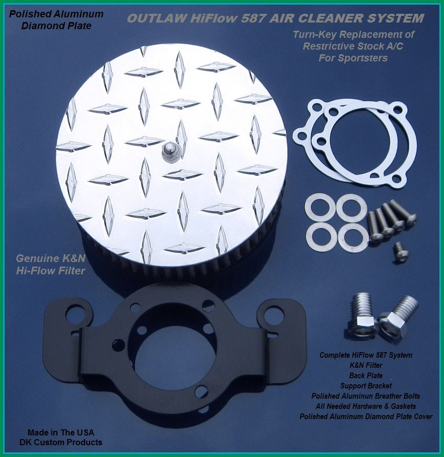Aluminum Diamond Plate Outlaw HiFlow 587 Air Cleaner System
