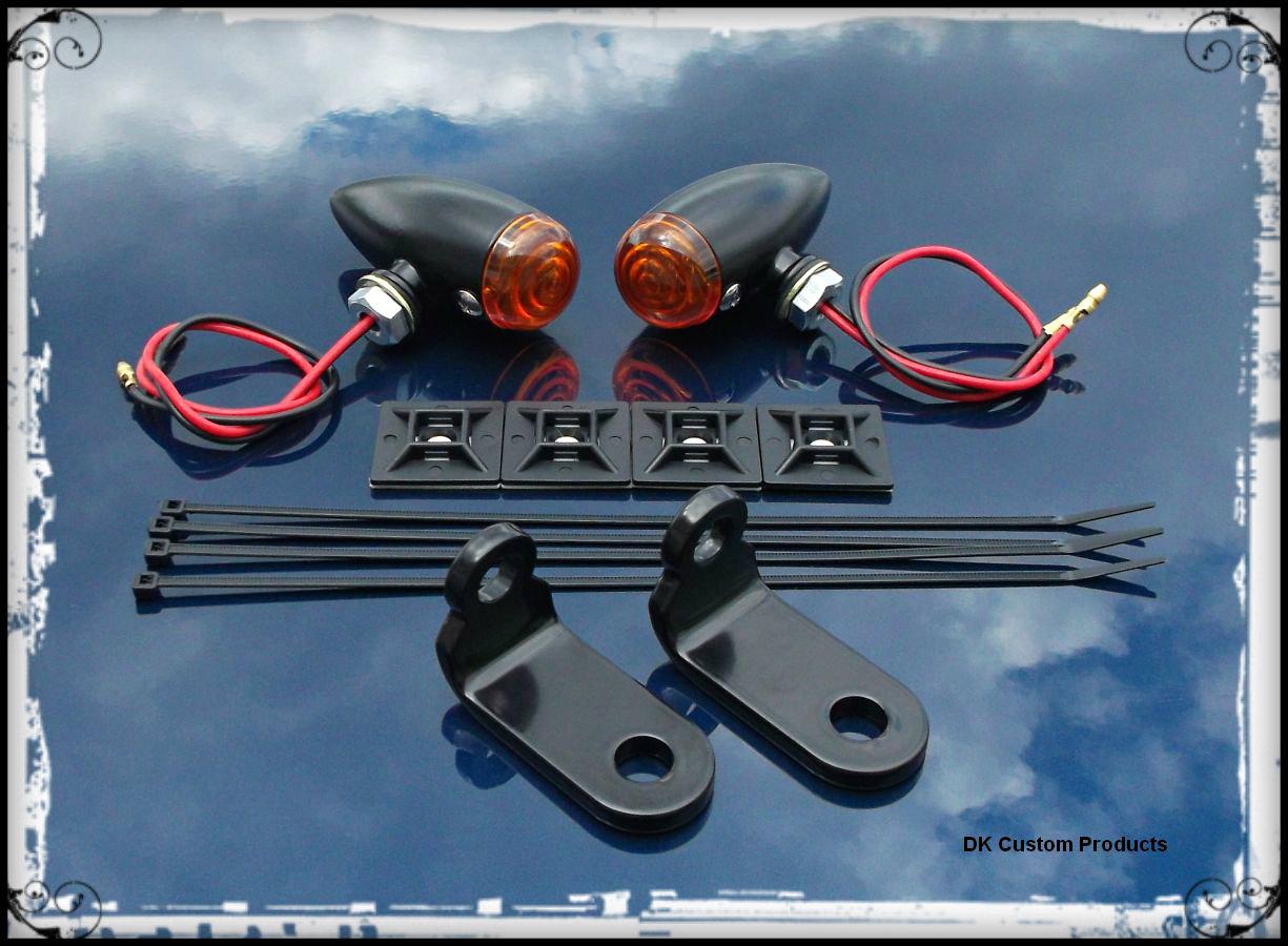 Sano Black Streamliner Bullet Front Turn Signal Lights Relo Kit