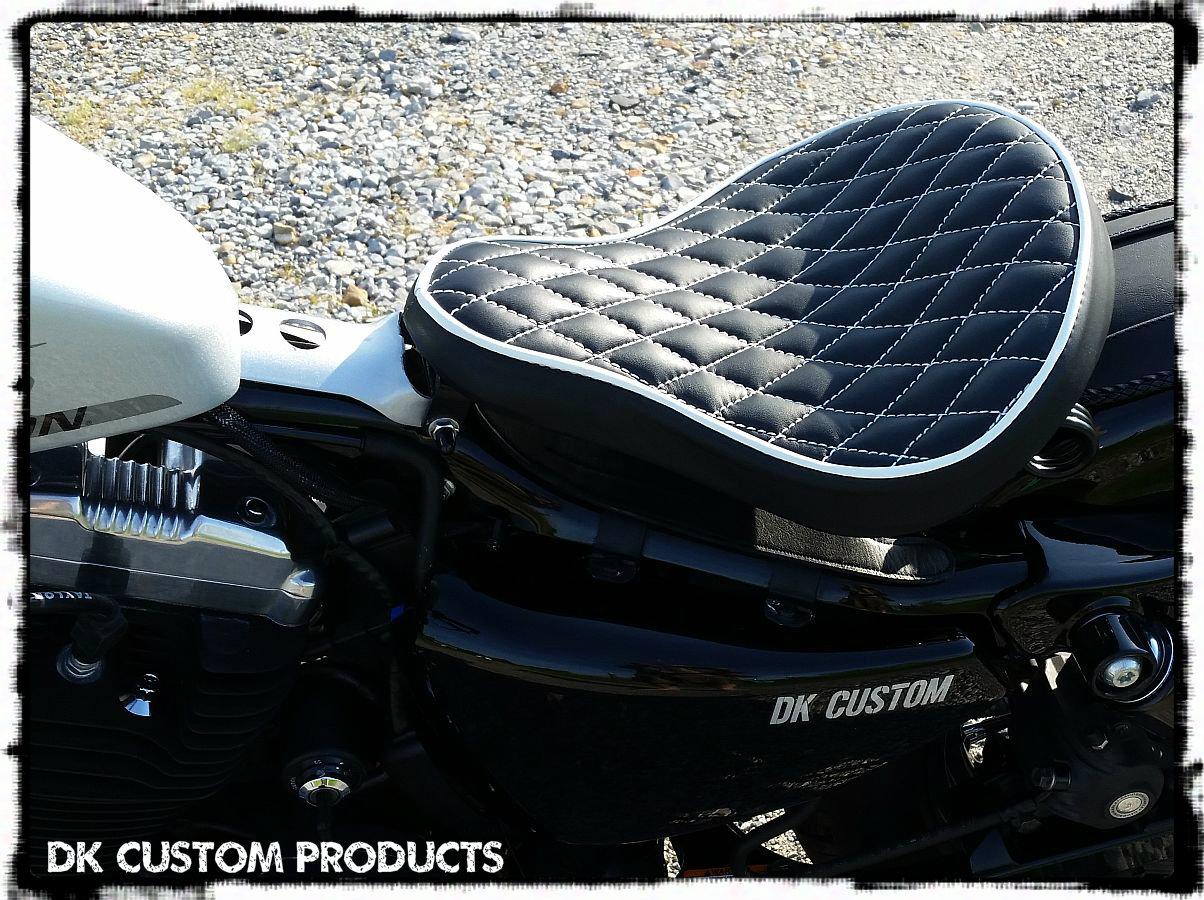 "Premium Leather 16"" Bobber Solo Seat System w/ Scissor Springs"